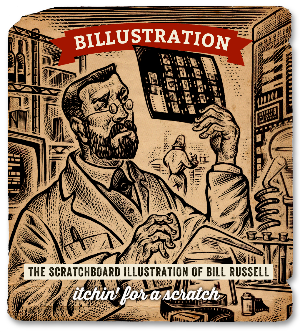 Scratchboard drawing llustration is a Science by Bill Russell