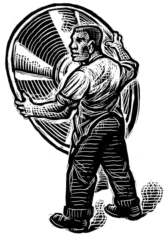 MetroWerks scratchboard illustration by Bill Russell