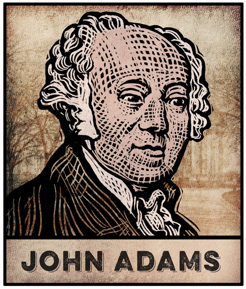 John Adams scratchboard illustration by Bill Russell