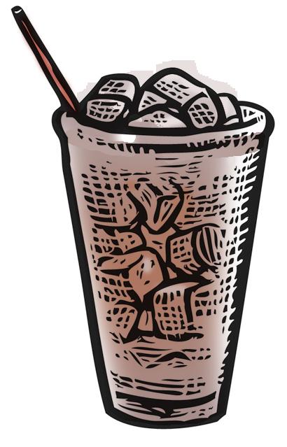 Iced coffee scratchboard illustration